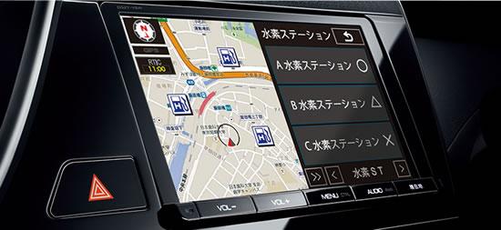 トヨタ「ミライ」ナビ画像、なんと専用ナビは販売店オプションで一般の車と同じ扱い大丈夫なのか、画像はメーカーサイトより拝借