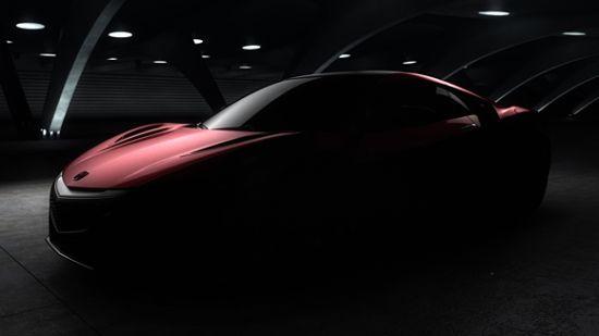 次期NSXのティザー画像フロント、ボンネットが最近の車にしては低そうなのでちゃんとスポーツカーのシルエットをしている、画像はメーカーサイトより拝借