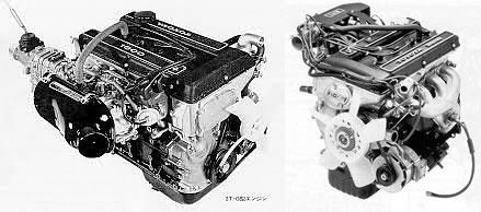 2TG:トヨタの1.6LのDOHCエンジンの名器、左はTE47に積まれていた純正ソレックスキャブレター付きの2TG、右はそのすぐ後にEFI化された2TGでパンチが無くなってしまった、画像はネット上から拝借