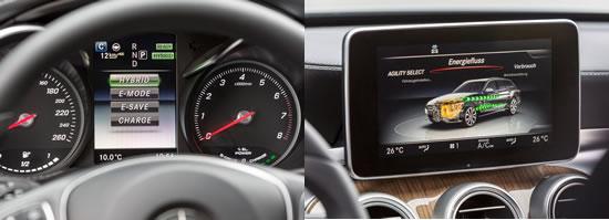 メルセデスC350プラグインハイブリッドのエステートのインパネ画像、左がメーターパネルでモードが選択できるようだ、右はセンターのディスプレーで現在の動作状況を表示している、画像はネット上から拝借