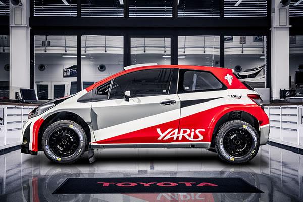 トヨタが2017年から復帰するWRC用のYaris、日本ではヴィッツ、製作はTMGが担当する、いかにもラリー車らしい仕上がりだ