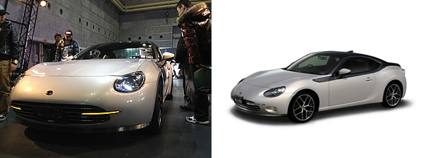 左が2013年の大阪オートメッセの実車、右が今回発表になったもの、ほとんど同じだと思われる、大阪オートメッセに当然出してくるだろう