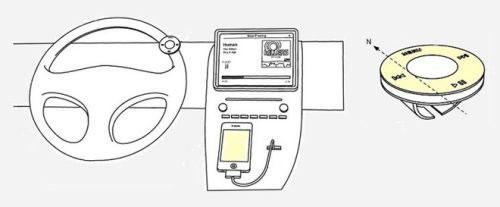 アップルのSiriに関する車載の特許申請の図