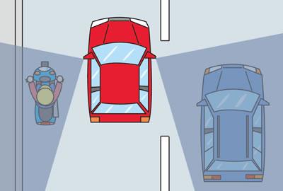 JAFの車の死角の説明図