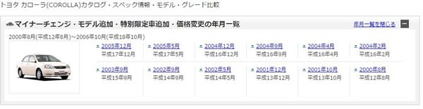 Goo中古車の個別画面でのカタログ情報画面