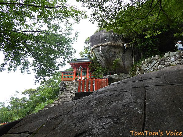 神倉神社の社殿の後方には巨大なゴトビキ岩 山そのものも岩でできているのだった