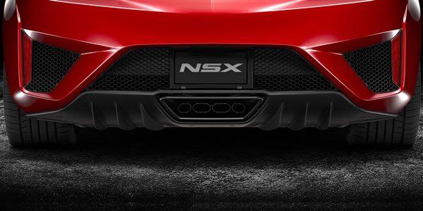 新型NSXのデフューザーのアップ画像カーボンパッケージ