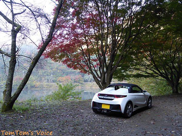 S660で行った篠山、紅葉の下で記念撮影