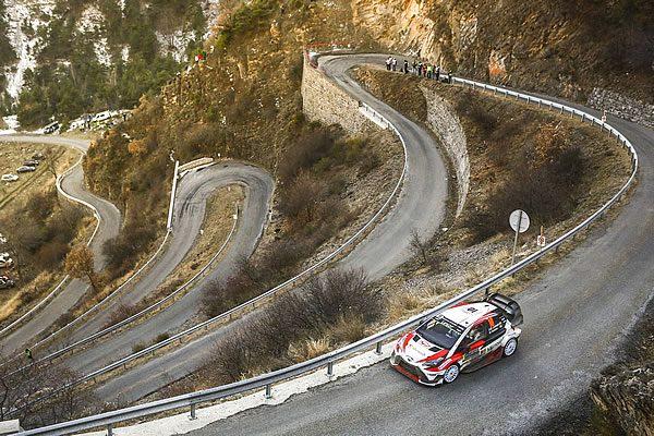 2017年WRC開幕戦モンテカルロ・ラリーを走るトヨタのヤリス