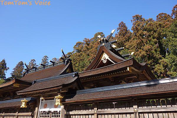 S660で行く熊野路、熊野本宮大社の本殿の檜皮葺の屋根
