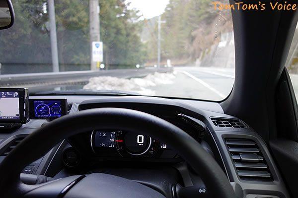 S660で行く熊野路、往路の大塔町あたりの峠では-2℃で路肩には積雪がある