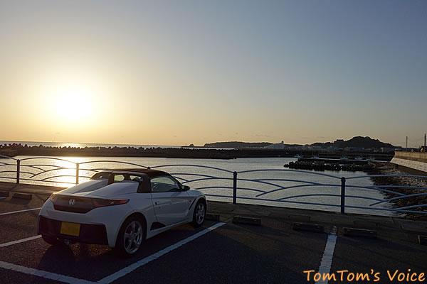 S660で行く熊野路、田辺での夕日