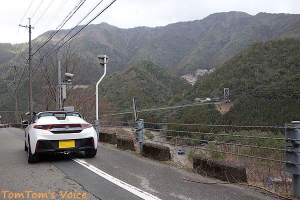 S660で行く熊野路、十津川村の谷瀬の吊り橋遠景