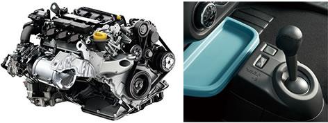 新型トゥインゴのエンジンとシフトレバー画像
