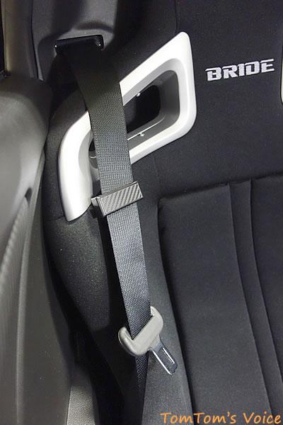 S660にBRIDE「A.i.R.」を取り付けた、ドアを締めた時のショルダー部分のようす