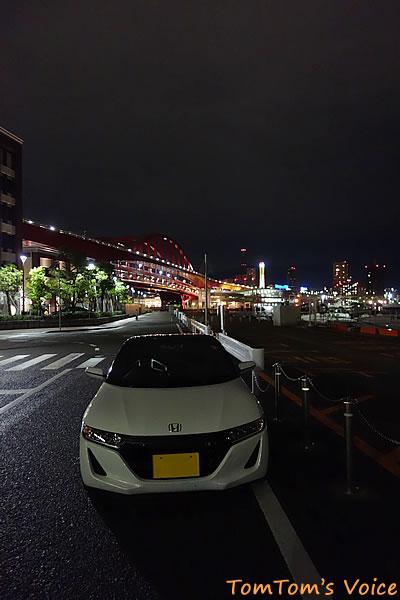S66で行ったポートアイランド、水上警察署前から神戸の街の夜景を見る