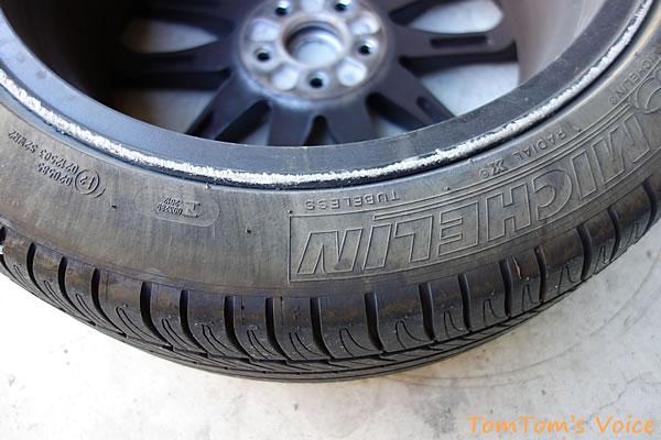 BRZ脱輪の傷跡、フロントのタイヤホイール
