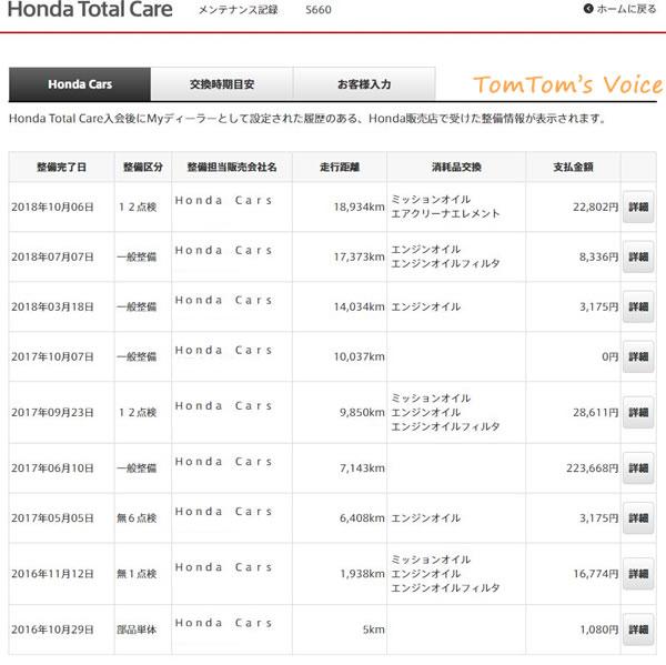 ホンダトータルケアの整備記録画面