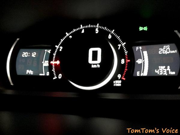 今回の走行距離は433.7km、メーターの燃費は26.0km/L